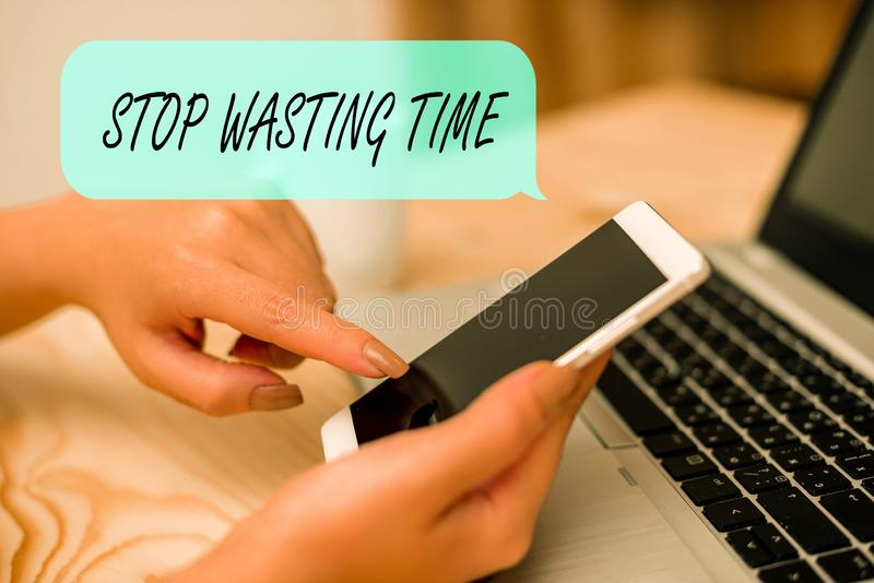 Conceptual hand writing showing Stop Wasting Time. Business photo text advising demonstrating or group start planning. Conceptual hand writing showing Stop stock photo