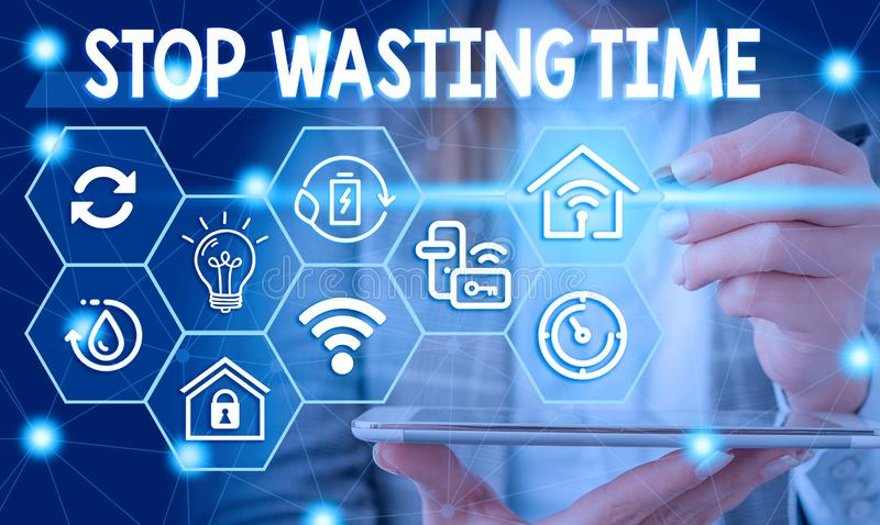 Conceptual hand writing showing Stop Wasting Time. Business photo showcasing advising demonstrating or group start. Conceptual hand writing showing Stop Wasting royalty free stock images
