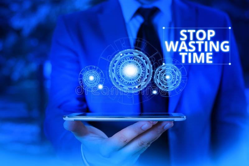 Conceptual hand writing showing Stop Wasting Time. Business photo showcasing advising demonstrating or group start. Conceptual hand writing showing Stop Wasting royalty free stock photos