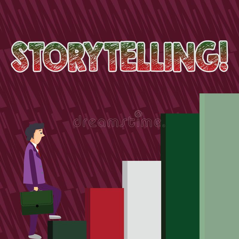 Conceptual hand writing showing Storytelling. Business photo text activity of telling or writing stories novels to. Conceptual hand writing showing Storytelling vector illustration