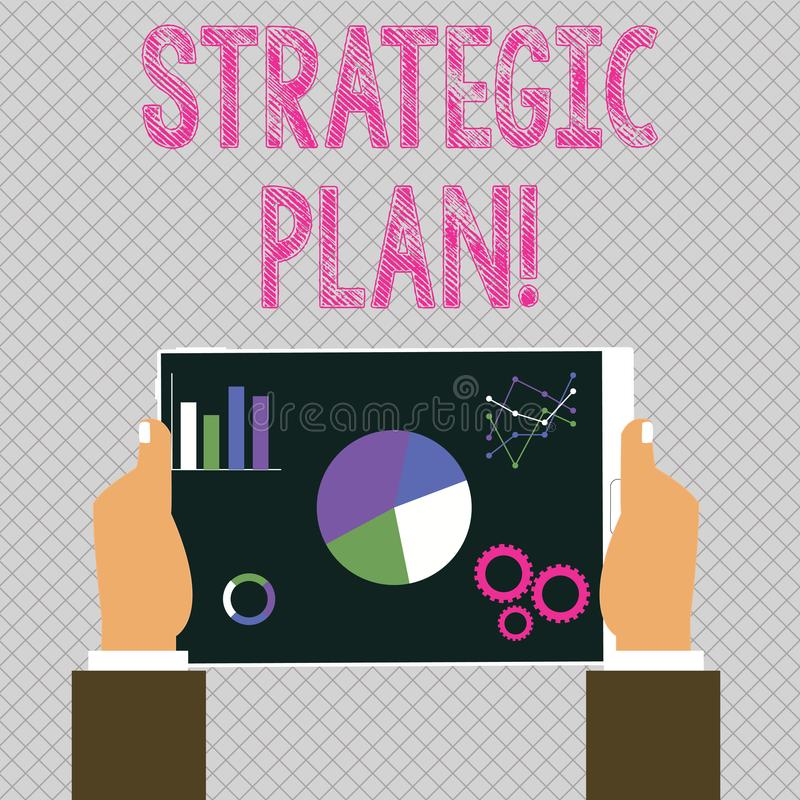 Conceptual hand writing showing Strategic Plan. Business photo showcasing analysisagement activity that is used to set. Conceptual hand writing showing Strategic stock illustration