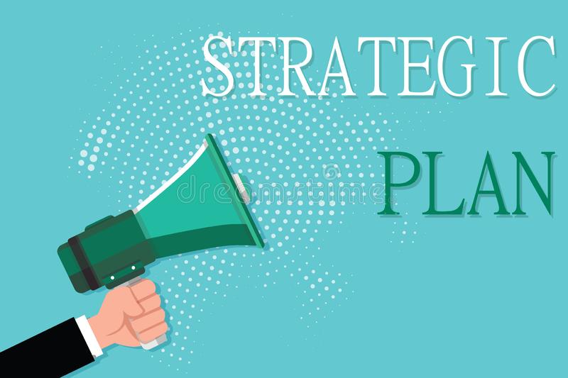 Conceptual hand writing showing Strategic Plan. Business photo showcasing A process of defining strategy and making decisions.  vector illustration