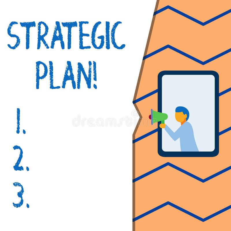 Conceptual hand writing showing Strategic Plan. Business photo text analysisagement activity that is used to set and. Conceptual hand writing showing Strategic stock illustration