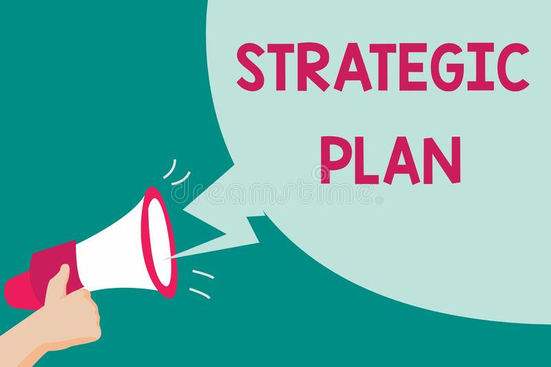 Conceptual hand writing showing Strategic Plan. Business photo text A process of defining strategy and making decisions.  royalty free illustration