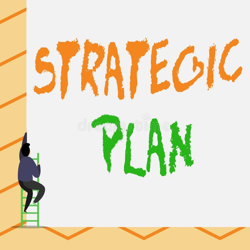 Conceptual hand writing showing Strategic Plan. Business photo text a systematic process of envisioning a desired future. Conceptual hand writing showing stock illustration