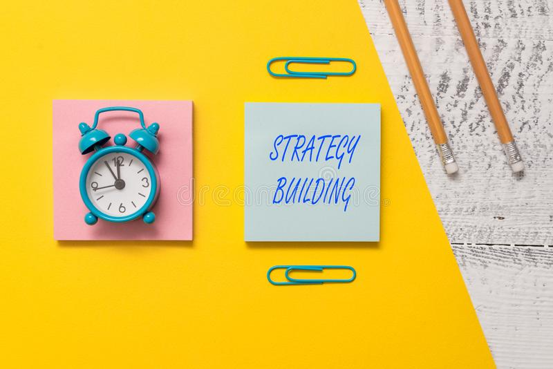 Conceptual hand writing showing Strategy Building. Business photo text Leveraging Buying and acquiring others platforms. Conceptual hand writing showing Strategy stock photo