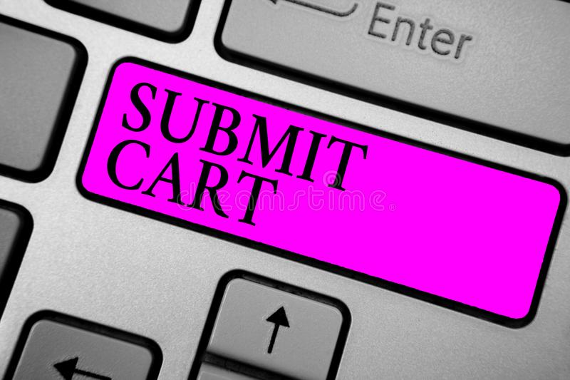 Conceptual hand writing showing Submit Cart. Business photo text Sending shopping list of online items Proceed checkout Keyboard p. Urple key computer computing royalty free stock photo