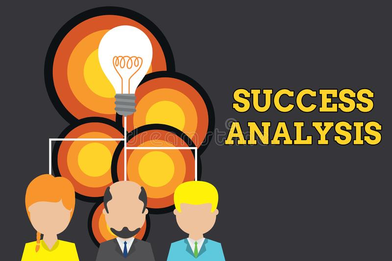 Conceptual hand writing showing Success Analysis. Business photo text creating graph to determine increase in sales or. Conceptual hand writing showing Success stock illustration