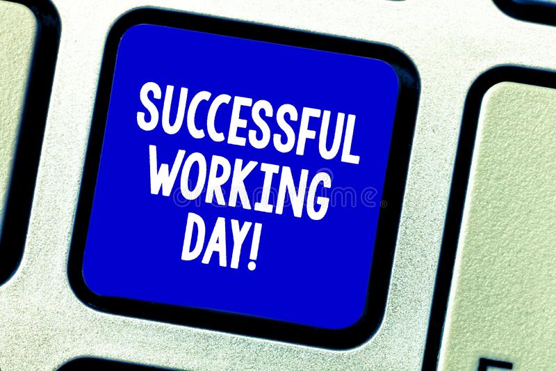 Conceptual hand writing showing Successful Working Day. Business photo showcasing When someone achieve something or stock photo