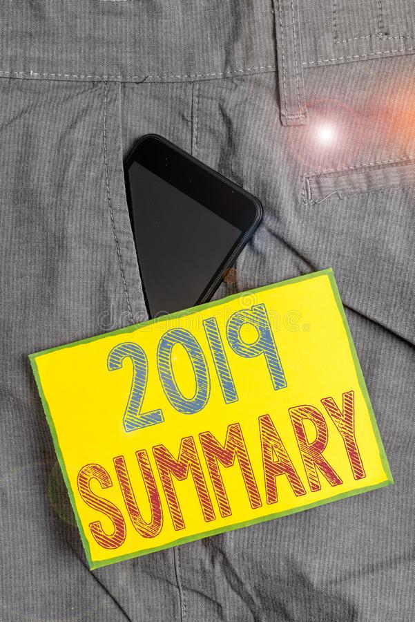 Conceptual hand writing showing 2019 Summary. Business photo showcasing brief comprehensive especially covering the main. Conceptual hand writing showing 2019 royalty free stock photography