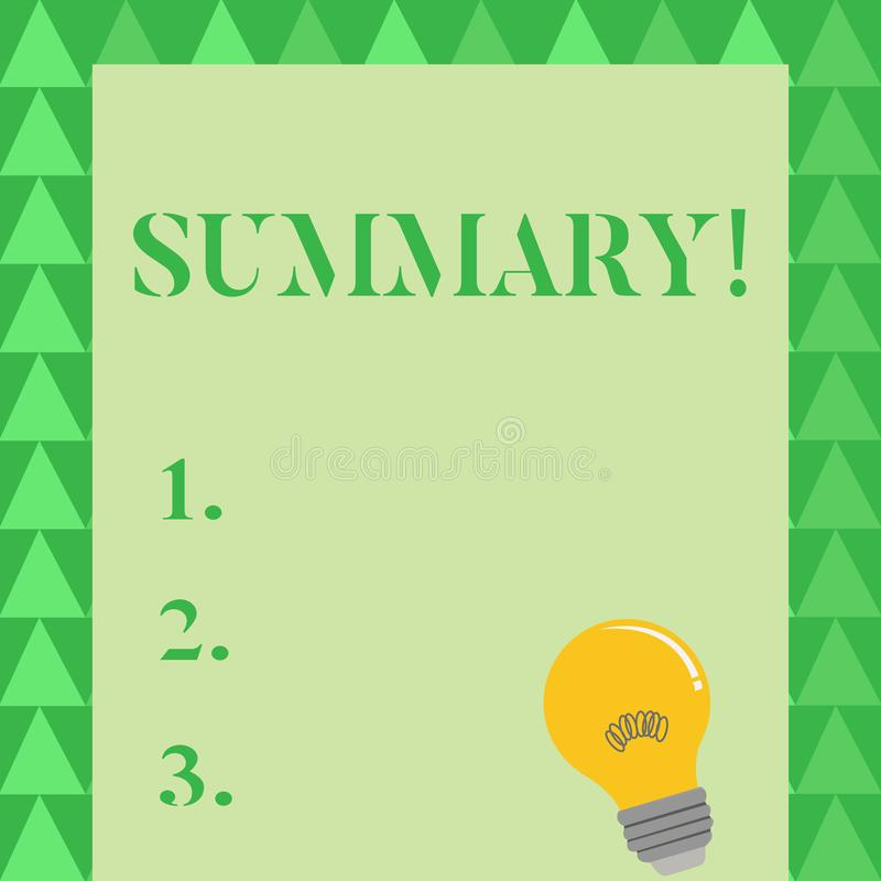 Conceptual hand writing showing Summary. Business photo showcasing brief statement or account of main points of. Conceptual hand writing showing Summary. Concept vector illustration