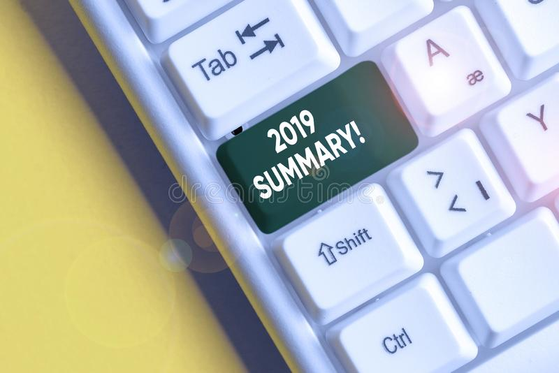 Conceptual hand writing showing 2019 Summary. Business photo showcasing summarizing past year events main actions or good shows. Conceptual hand writing showing royalty free stock photography