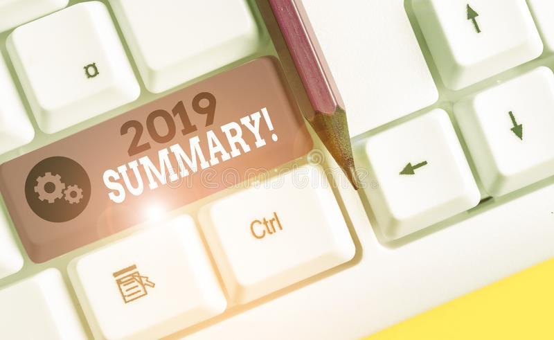 Conceptual hand writing showing 2019 Summary. Business photo showcasing summarizing past year events main actions or good shows. Conceptual hand writing showing royalty free stock images