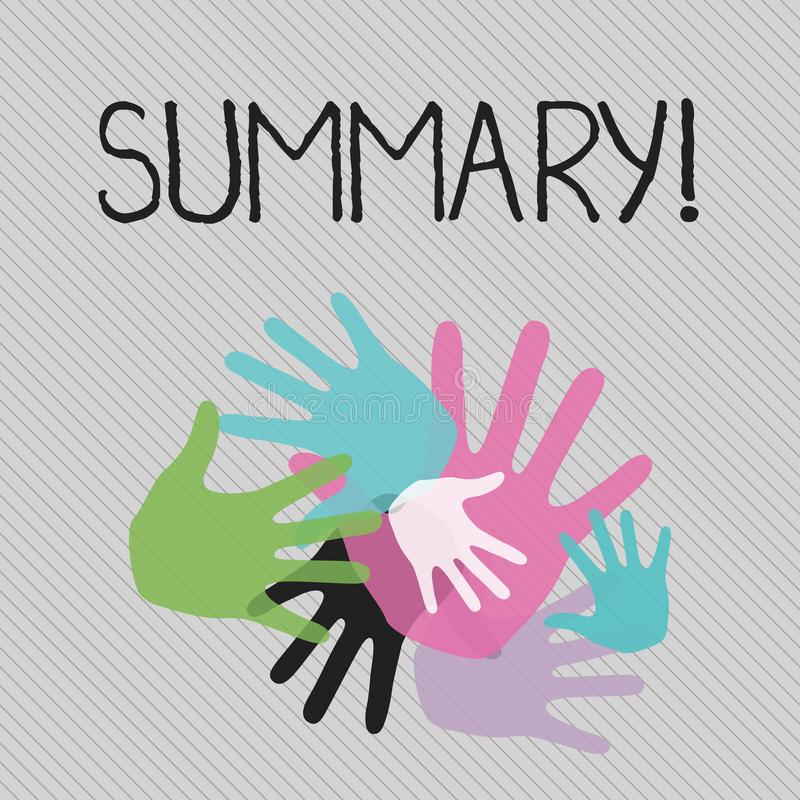 Conceptual hand writing showing Summary. Business photo text Brief Statement Abstract Synopsis Concise Abbreviated. Conceptual hand writing showing Summary royalty free illustration