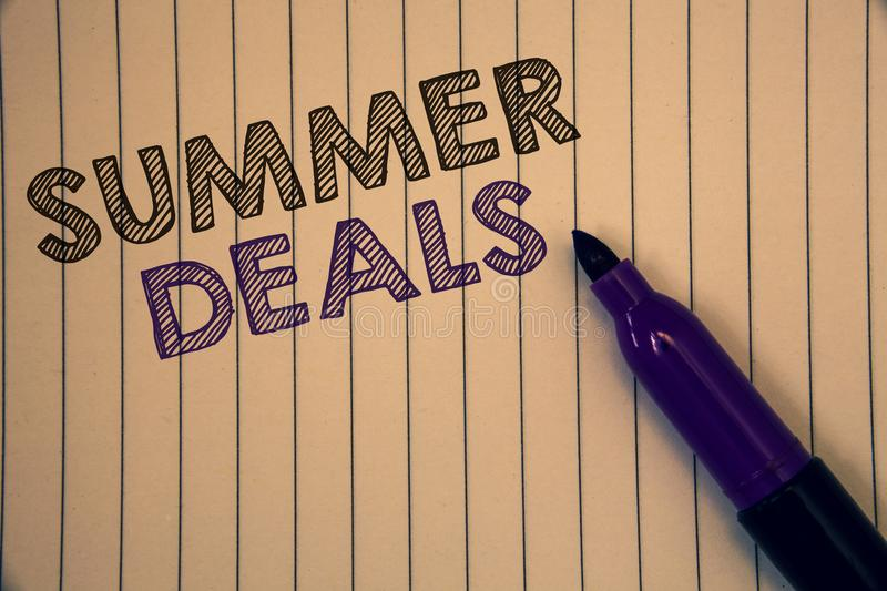 Conceptual hand writing showing Summer Deals. Business photos showcasing Special Sales Offers for Vacation Holiday Trips Price Dis. Conceptual hand writing royalty free stock photo
