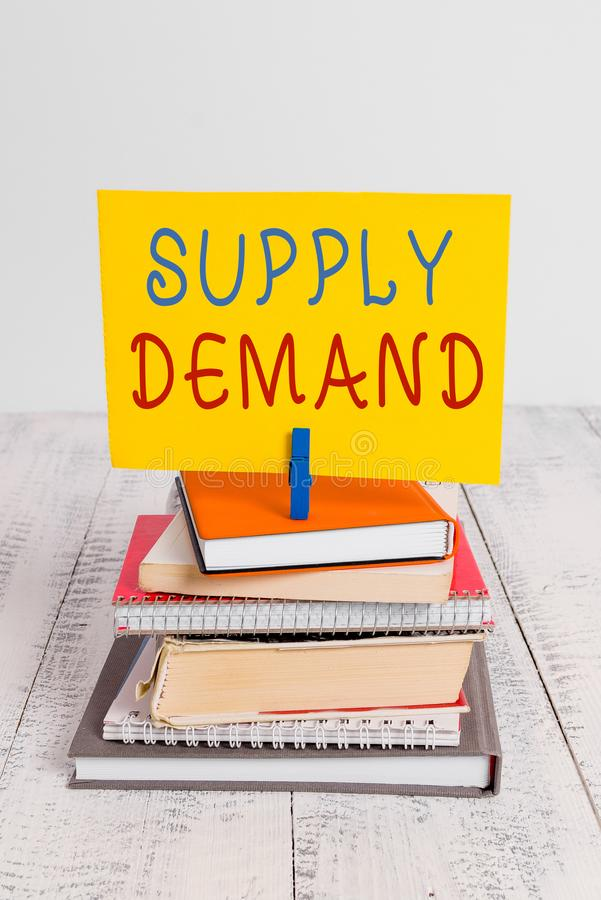 Conceptual hand writing showing Supply Deanalysisd. Business photo showcasing Relationship between the amounts available. Conceptual hand writing showing Supply royalty free stock image