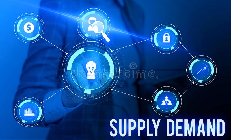 Conceptual hand writing showing Supply Deanalysisd. Business photo showcasing Relationship between the amounts available. Conceptual hand writing showing Supply stock photos
