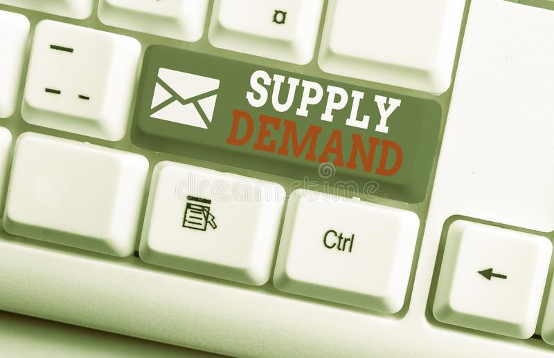 Conceptual hand writing showing Supply Deanalysisd. Business photo showcasing Relationship between the amounts available. Conceptual hand writing showing Supply royalty free stock images