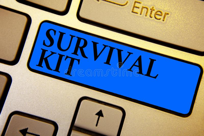 Conceptual hand writing showing Survival Kit. Business photo text Emergency Equipment Collection of items to help someone Keyboard. Blue key create computer stock photo