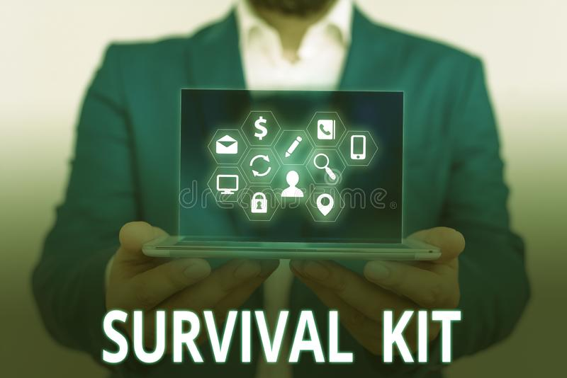 Conceptual hand writing showing Survival Kit. Business photo text Emergency Equipment Collection of items to help. Conceptual hand writing showing Survival Kit royalty free stock photos