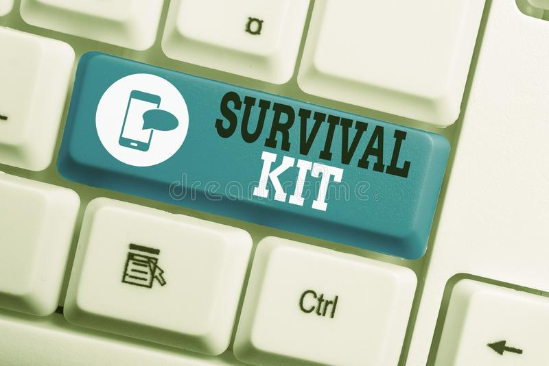 Conceptual hand writing showing Survival Kit. Business photo text Emergency Equipment Collection of items to help. Conceptual hand writing showing Survival Kit royalty free stock images