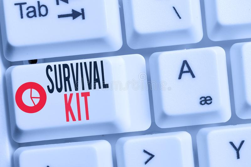 Conceptual hand writing showing Survival Kit. Business photo showcasing Emergency Equipment Collection of items to help. Conceptual hand writing showing Survival royalty free stock photos