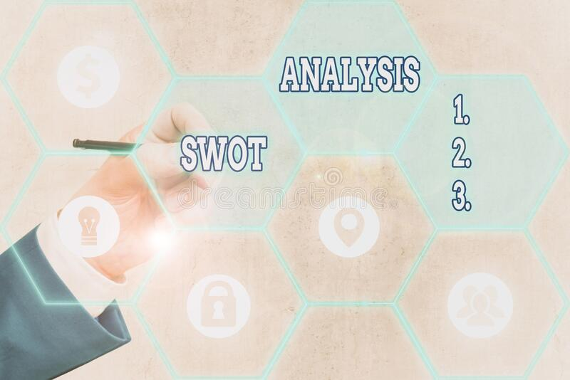 Conceptual hand writing showing Swot Analysis. Business photo showcasing framework used to evaluate a company competitive position. Conceptual hand writing stock photography