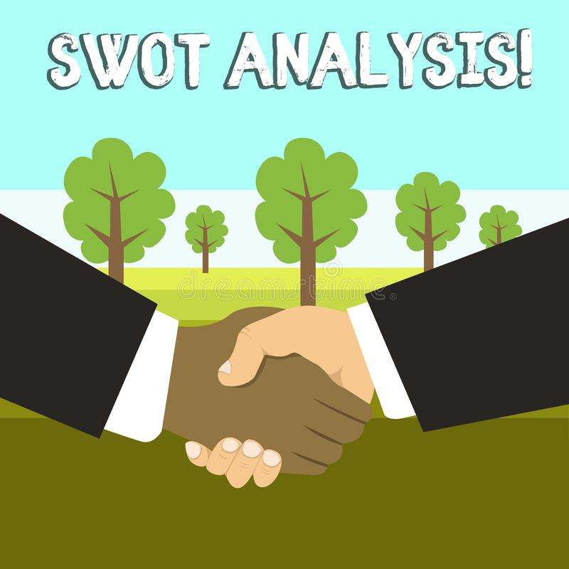 Conceptual hand writing showing Swot Analysis. Business photo showcasing framework used to evaluate a company s is. Conceptual hand writing showing Swot Analysis vector illustration