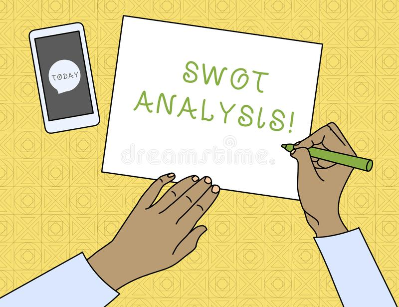 Conceptual hand writing showing Swot Analysis. Business photo text framework used to evaluate a company s is competitive. Conceptual hand writing showing Swot stock illustration