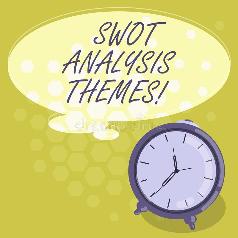 Conceptual hand writing showing Swot Analysis Themes. Business photo showcasing Subject matter to undergo comprehensive. Analysis Color Thought Speech Bubble stock illustration