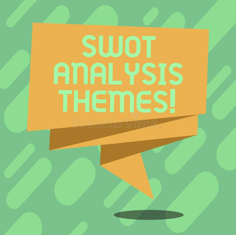 Conceptual hand writing showing Swot Analysis Themes. Business photo text Subject matter to undergo comprehensive. Analysis Folded 3D Ribbon Sash Speech Bubble stock illustration