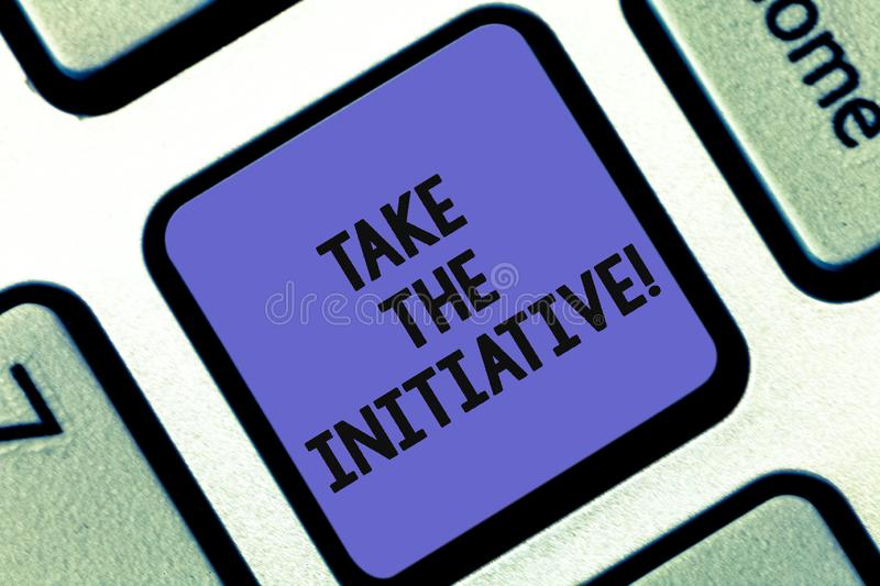 Conceptual hand writing showing Take The Initiative. Business photo showcasing Begin task steps actions or plan of royalty free stock image