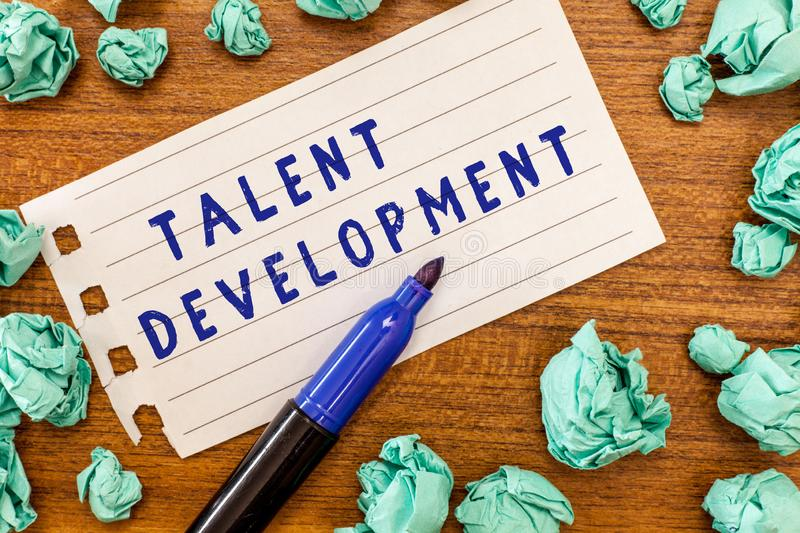 Conceptual hand writing showing Talent Development. Business photo showcasing Building Skills Abilities Improving. Potential Leader royalty free stock photo