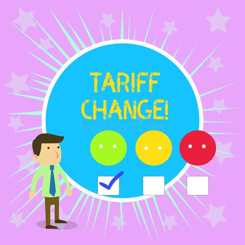 Conceptual hand writing showing Tariff Change. Business photo text Changes on tax imposed on imported goods and services. Conceptual hand writing showing Tariff royalty free illustration