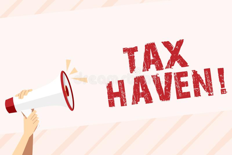 Conceptual hand writing showing Tax Haven. Business photo text country or independent area where taxes are levied at low. Conceptual hand writing showing Tax royalty free illustration