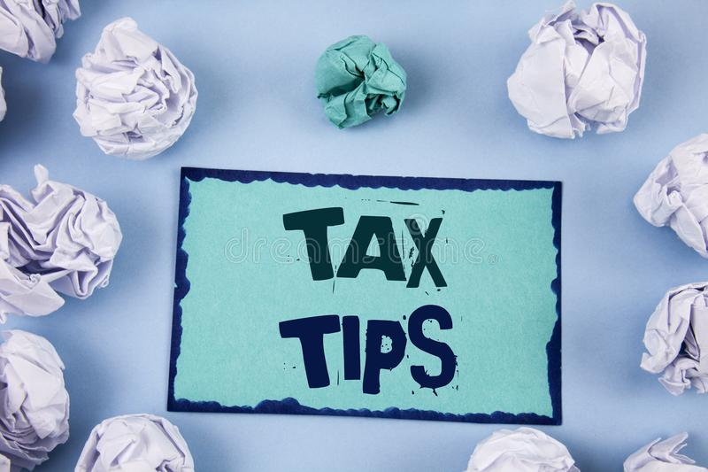 Conceptual hand writing showing Tax Tips. Business photo showcasing Help Ideas for taxation Increasing Earnings Reduction on expen. Ses stock photos