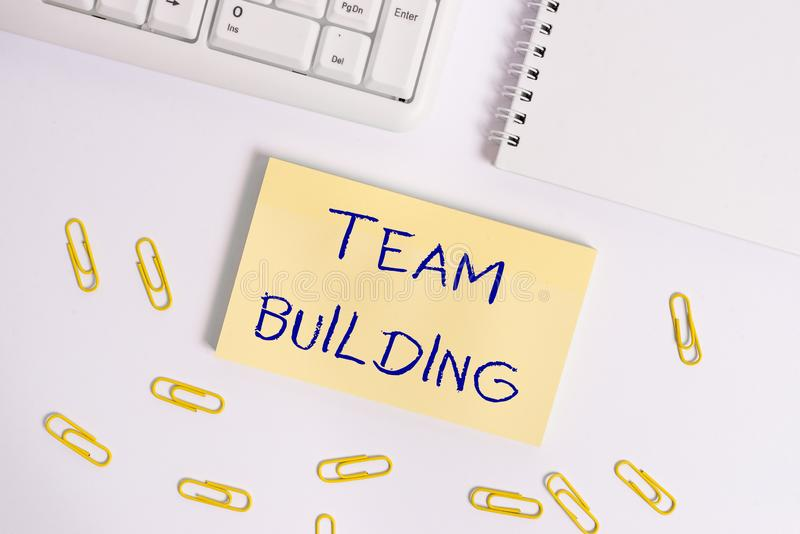 Conceptual hand writing showing Team Building. Business photo showcasing various types of activities used to enhance. Conceptual hand writing showing Team stock photography