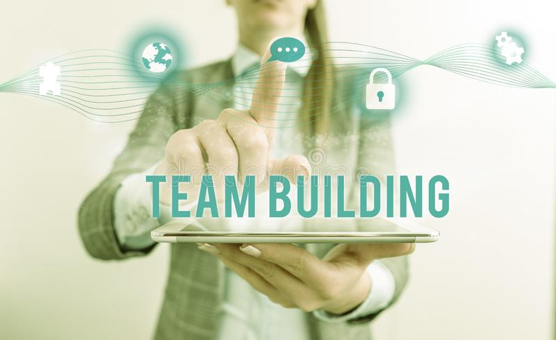 Conceptual hand writing showing Team Building. Business photo text various types of activities used to enhance social. Conceptual hand writing showing Team stock photography