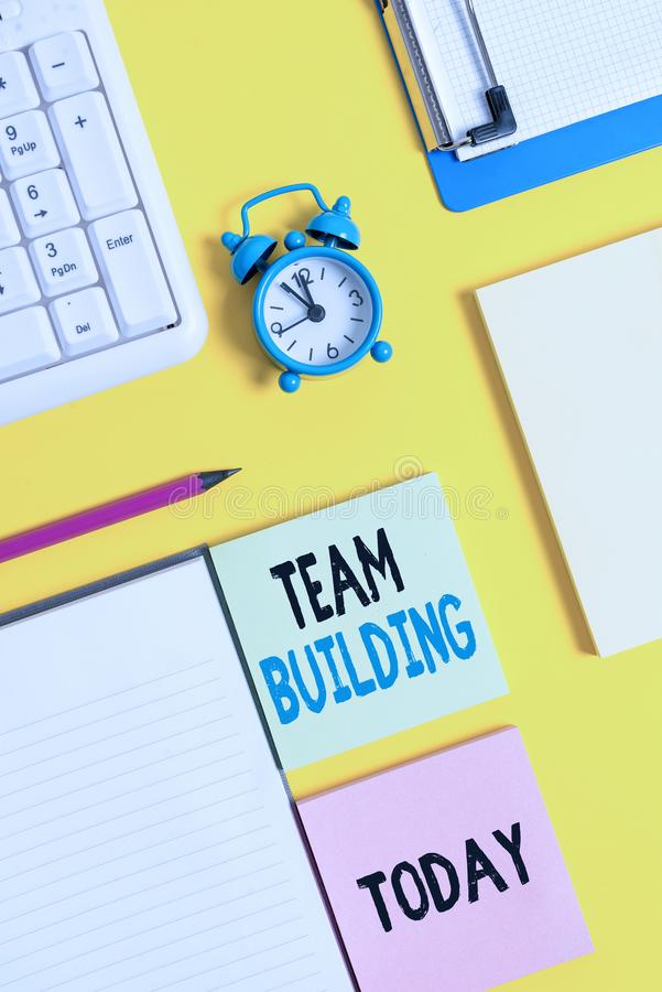 Conceptual hand writing showing Team Building. Business photo text various types of activities used to enhance social. Conceptual hand writing showing Team royalty free stock photography