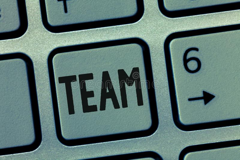 Conceptual hand writing showing Team. Business photo showcasing Group of people working together Classed and share. Certain beliefs royalty free stock photography