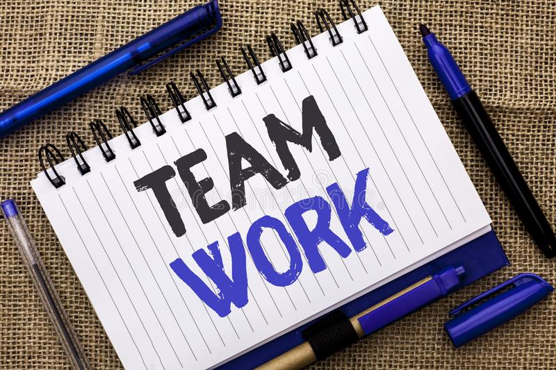 Conceptual hand writing showing Team Work. Business photo showcasing Cooperation Together Group Work Achievement Unity Collaborati royalty free stock image