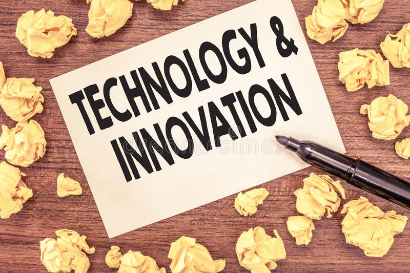 Conceptual hand writing showing TechnologyandInnovation. Business photo showcasing Application of better Solution for New Market N stock images