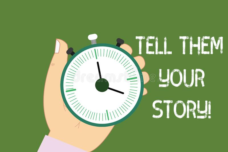 Conceptual hand writing showing Tell Them Your Story. Business photo showcasing Telling your demonstratingal background vector illustration