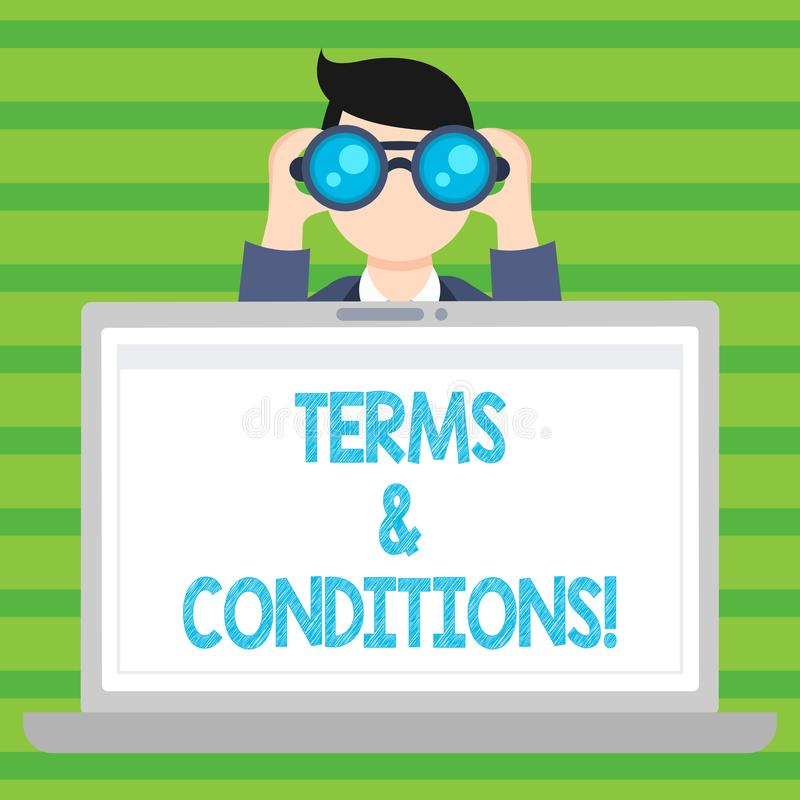 Conceptual hand writing showing Terms And Conditions. Business photo text Legal Law Agreement Disclaimer Restrictions. Conceptual hand writing showing Terms And royalty free illustration
