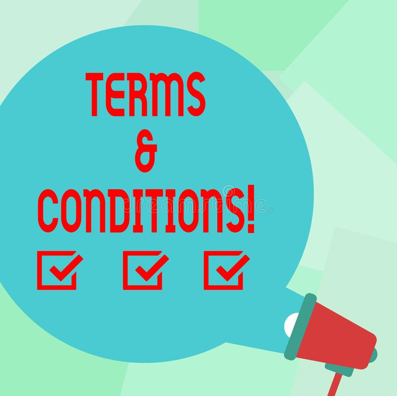 Conceptual hand writing showing Terms And Conditions. Business photo text Legal Law Agreement Disclaimer Restrictions. Conceptual hand writing showing Terms And vector illustration