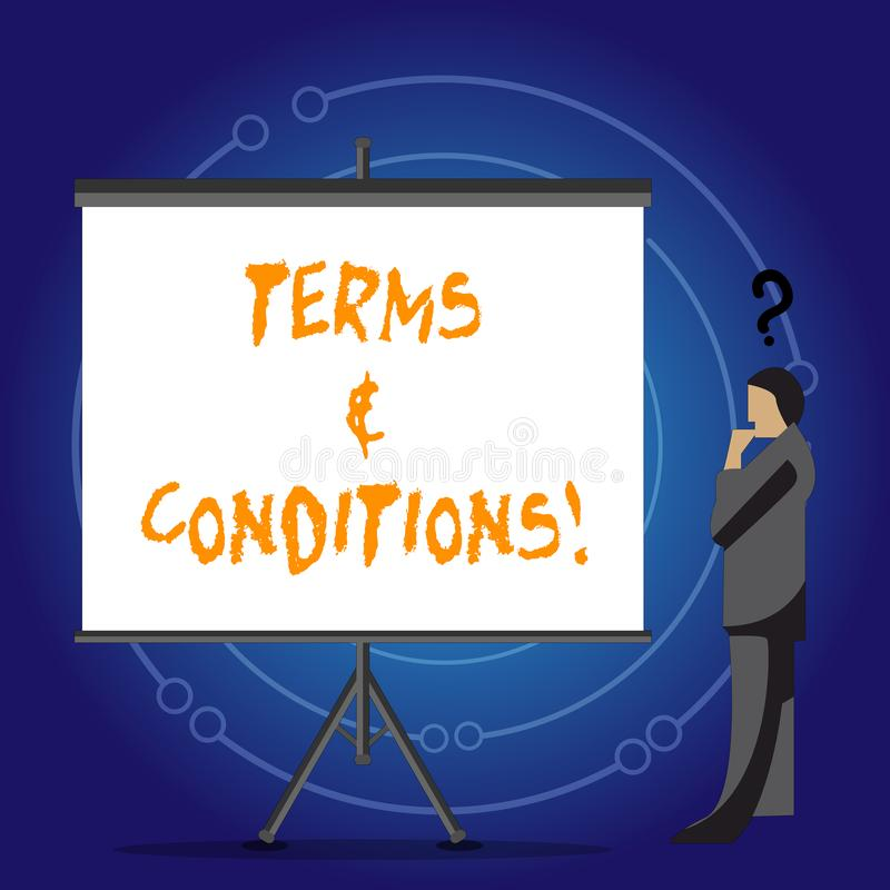 Conceptual hand writing showing Terms And Conditions. Business photo showcasing Legal Law Agreement Disclaimer. Conceptual hand writing showing Terms And vector illustration