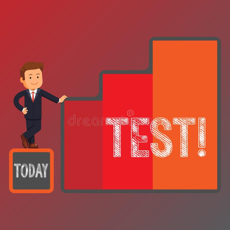 Conceptual hand writing showing Test. Business photo showcasing Academic systemic procedure assess reliability. Conceptual hand writing showing Test. Concept royalty free illustration