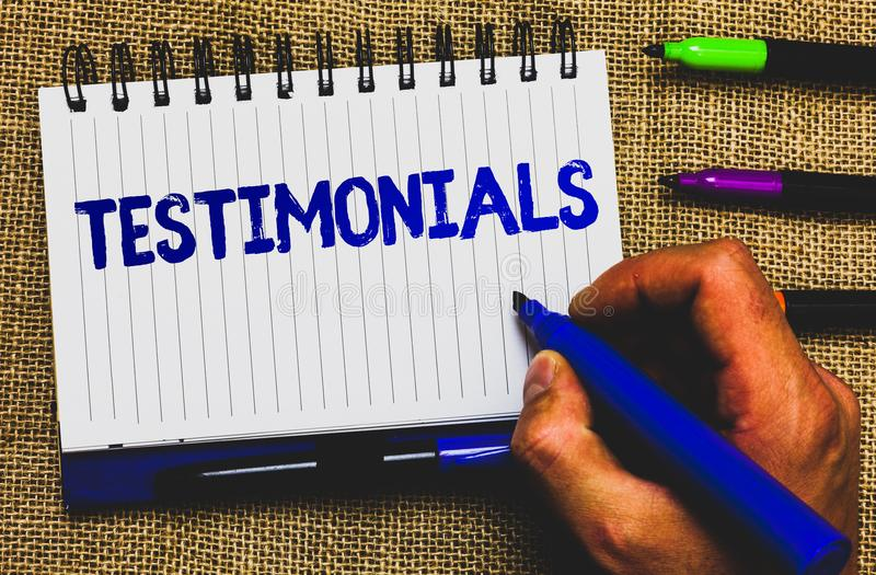 Conceptual hand writing showing Testimonials. Business photo showcasing Customers formal endorsement statement experience of someo. Ne Notepad marker creative stock photos