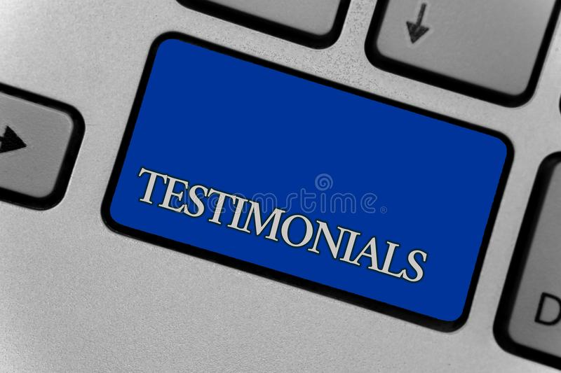 Conceptual hand writing showing Testimonials. Business photo text Customers formal endorsement statement experience of someone Key. Board grey key silver laptop royalty free stock photo