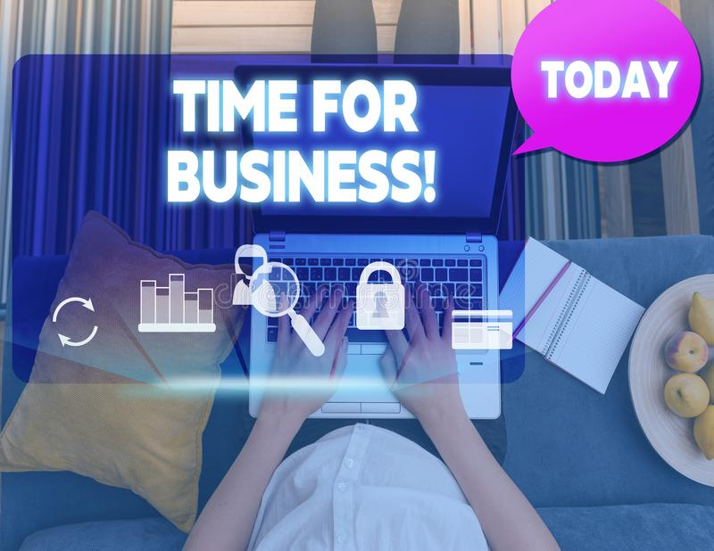 Conceptual hand writing showing Time For Business. Business photo text fulfil transactions within period promised to. Conceptual hand writing showing Time For royalty free stock images